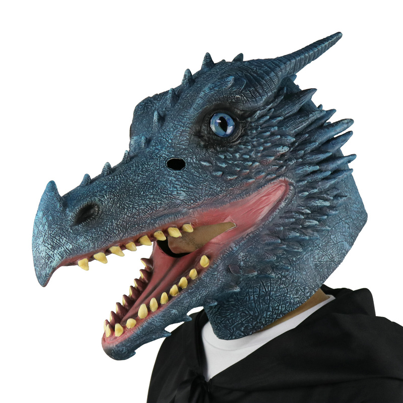 LarpGears Halloween Costume Latex Moving Mouth Mask Animal Ice Dragon Mask  for Cosplay
